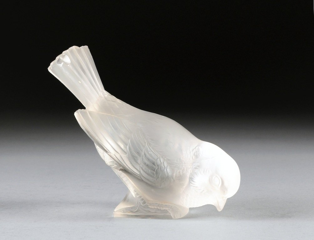 A RENÉ LALIQUE (1860-1945) FROSTED GLASS FIGURE OF A SP
