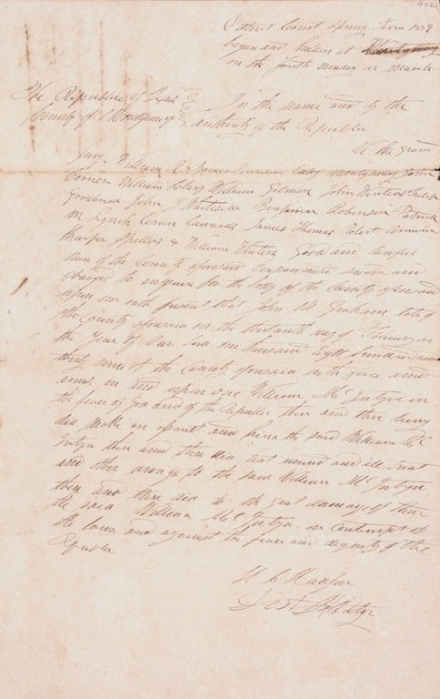 WILLIAM J.E. HEARD, 1838 REPUBLIC OF TEXAS DS, DATED NO