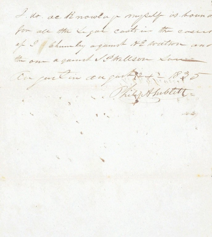 AN 1835 PROMISSORY NOTE SIGNED BY PHILIP SUBLETT (1802-