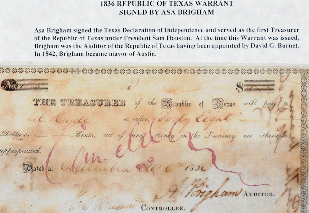 AN 1836 REPUBLIC OF TEXAS WARRANT SIGNED BY ASA BRIGHAM