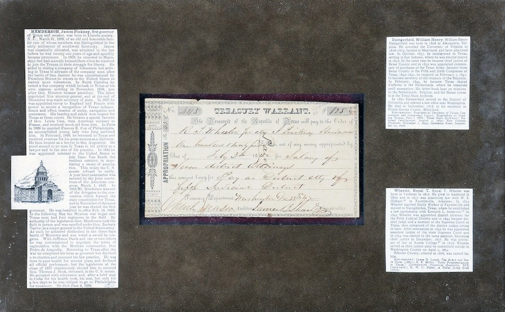 AN 1842 TEXAS TREASURY WARRANT FOR $125.00, NUMBER 445.