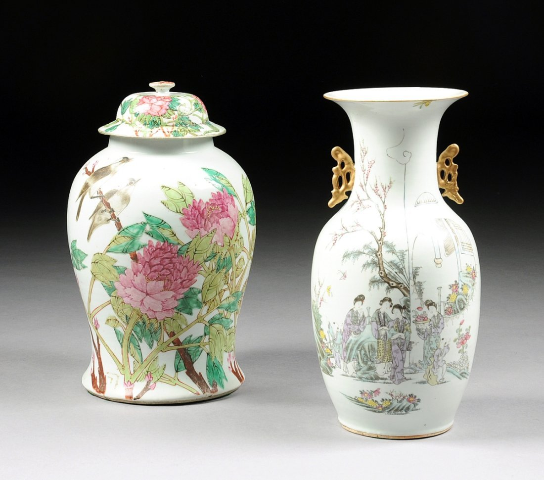 TWO VINTAGE CHINESE FAMILLE ROSE PORCELAIN WARES,