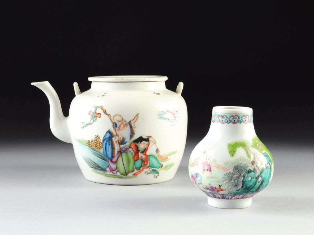 TWO VINTAGE CHINESE FAMILLE ROSE PORCELAIN WARES, EARLY