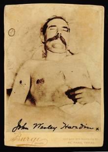 A RARE CABINET CARD PHOTOGRAPH OF JOHN WESLEY HARDIN ON