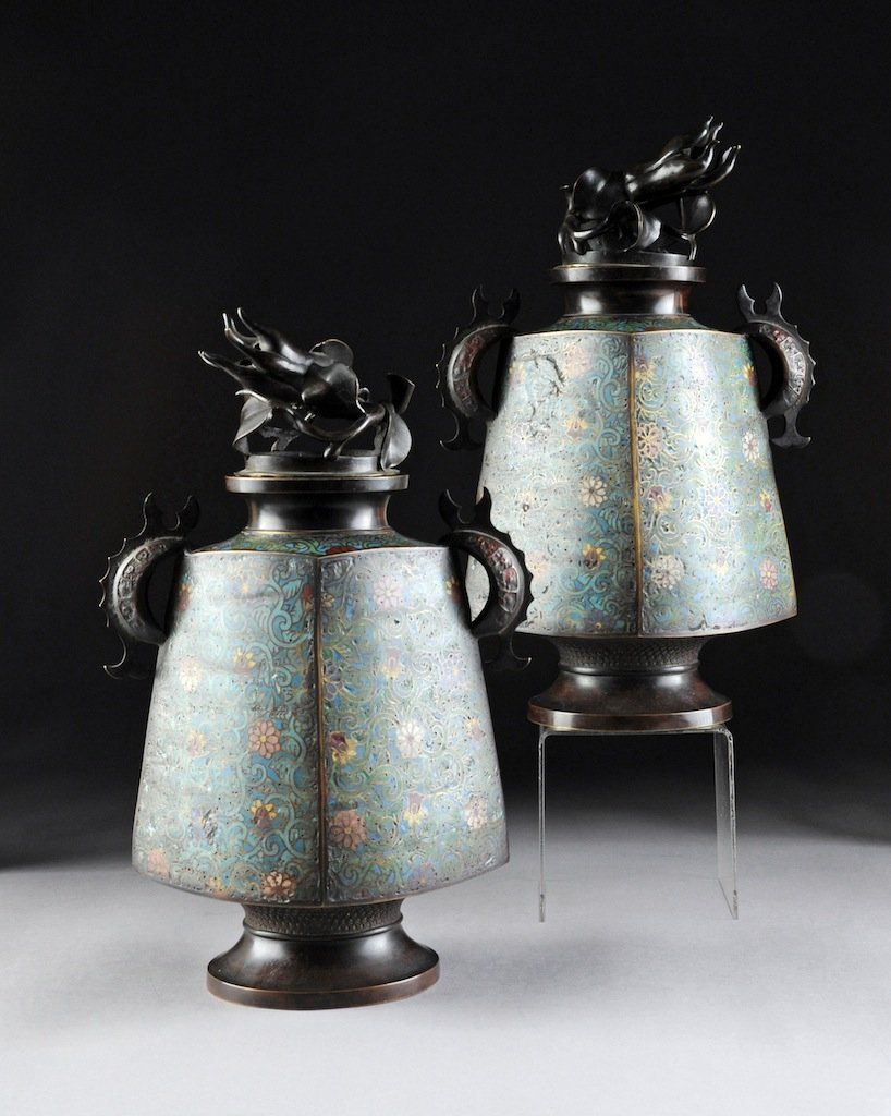 A PAIR OF VINTAGE JAPANESE PATINATED BRONZE AND POLYCHR