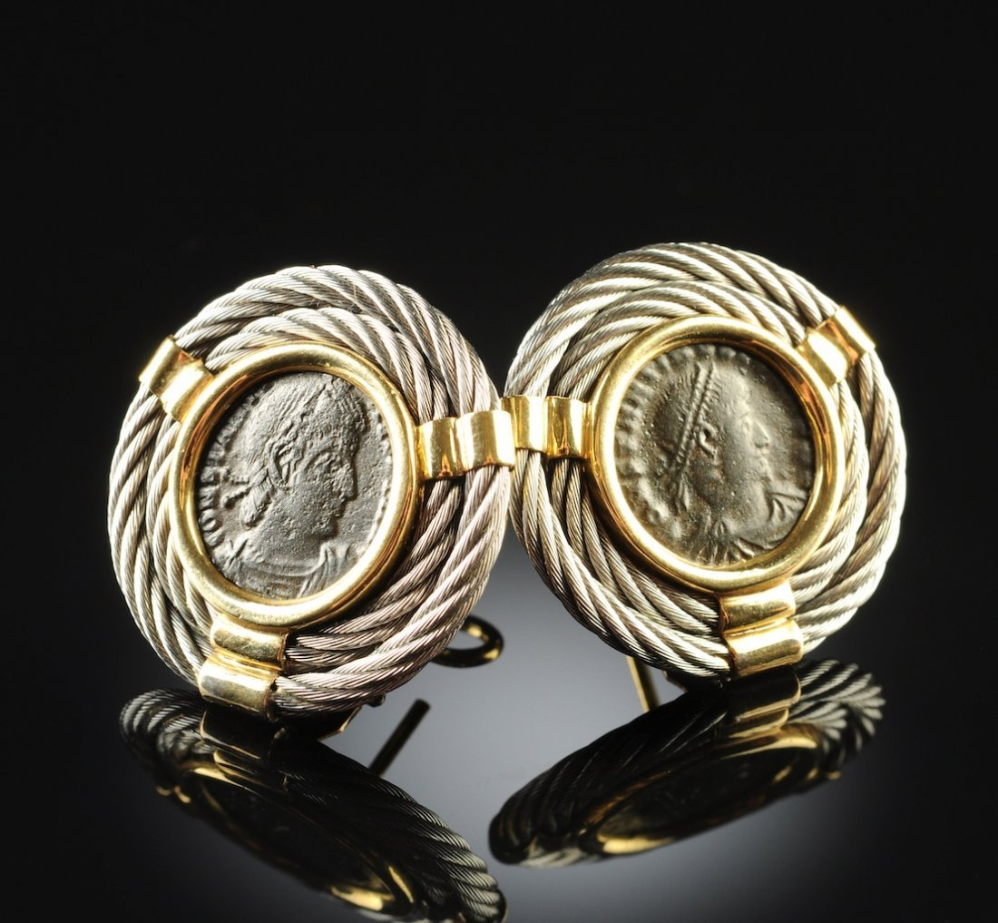 A PAIR OF 18K GOLD AND STAINLESS STEEL COIN LADY'S EARR