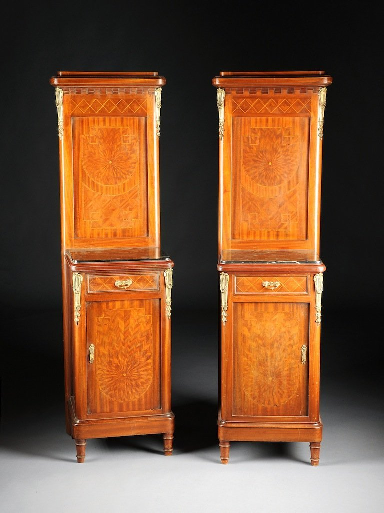 A PAIR OF NEOCLASSICAL REVIVAL TULIPWOOD PARQUETRY AND
