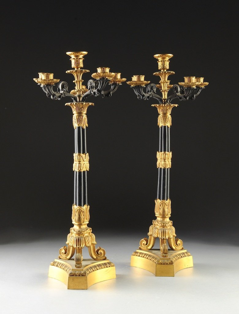 A PAIR OF LOUIS PHILIPPE GILT AND PATINATED BRONZE SIX-
