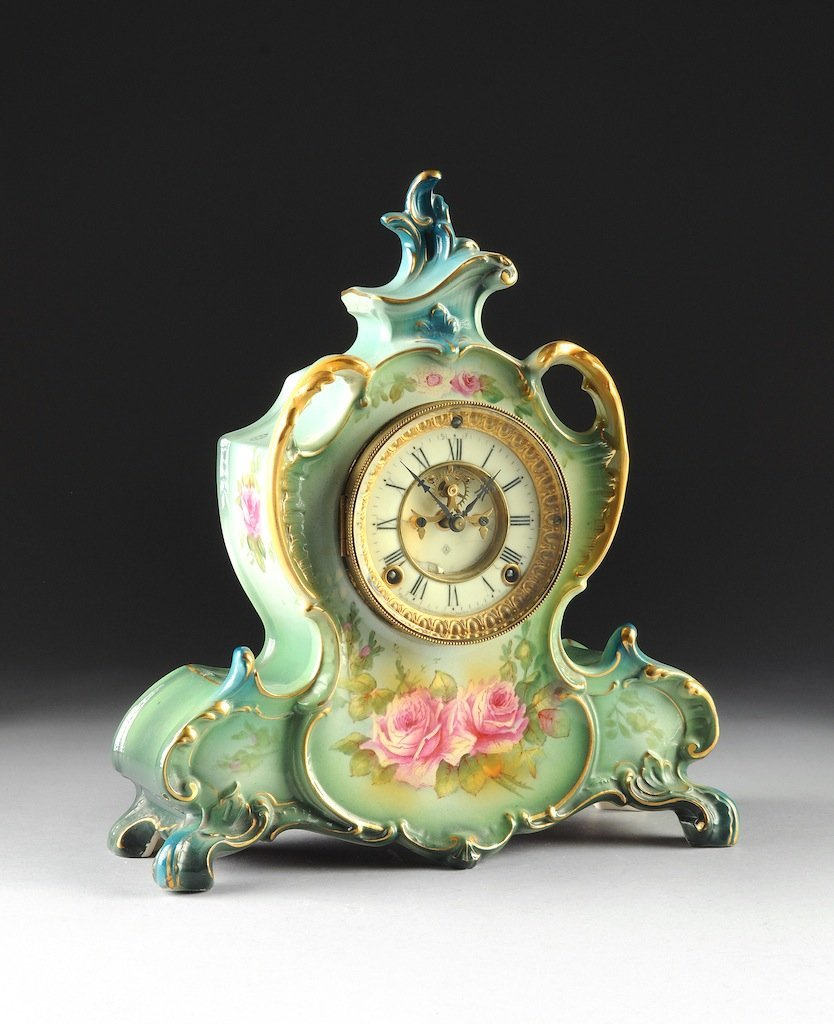 "A ROYAL BONN PORCELAIN ANSONIA MANTLE CLOCK, ""LA VENDÉE"