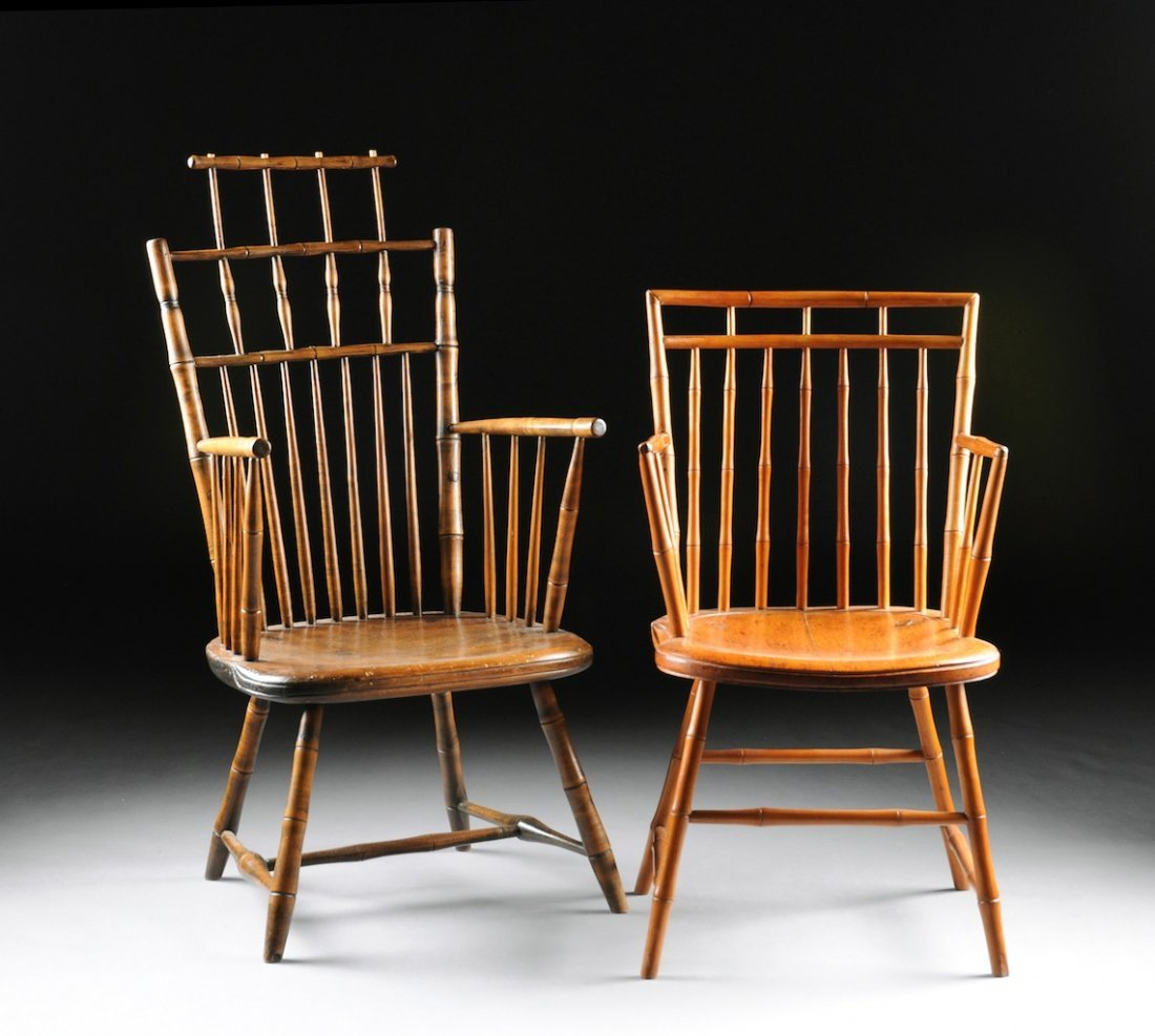 TWO BAMBOO TURNED WINDSOR ARMCHAIRS, NEW ENGLAND, EARLY