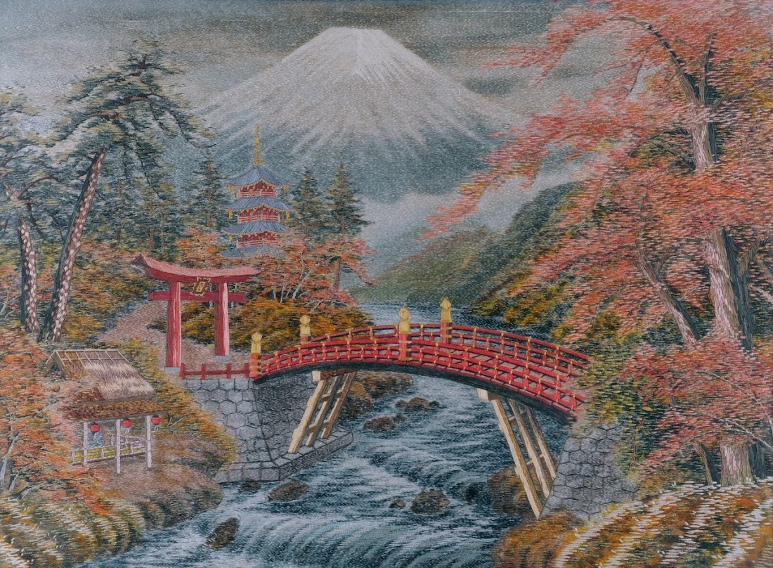 A JAPANESE POLYCHROME SILK AND WOOL THREAD NEEDLEPOINT,