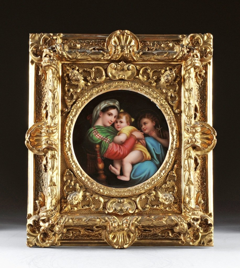 A GERMAN POLYCHROME PAINTED PORCELAIN PLAQUE OF THE MAD