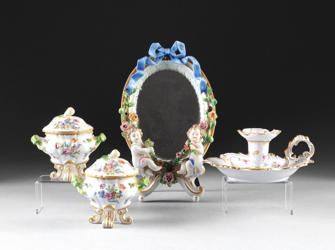 AN ASSEMBLED GROUP OF DRESDEN LADY'S TOILETTE WARES, BL