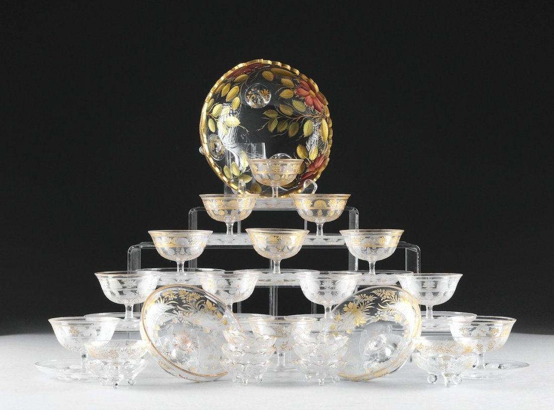 A GROUP OF VICTORIAN ETCHED AND GILDED GLASSWARE, LATE