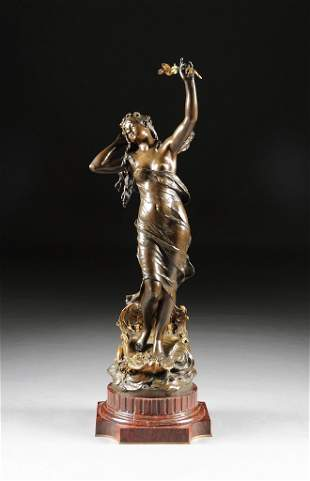 AUGUSTE MOREAU (French 1834-1917) A GILT AND PATINATED