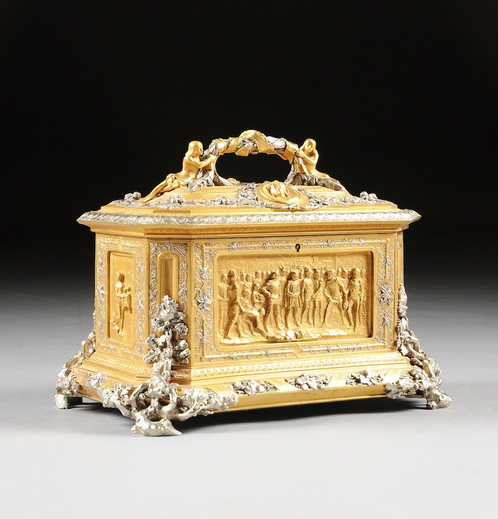 A FINE RENAISSANCE REVIVAL GILT AND SILVERED BRONZE JEW