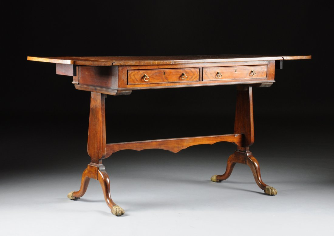A REGENCY CARVED MAHOGANY DROP-LEAF SOFA TABLE, EARLY