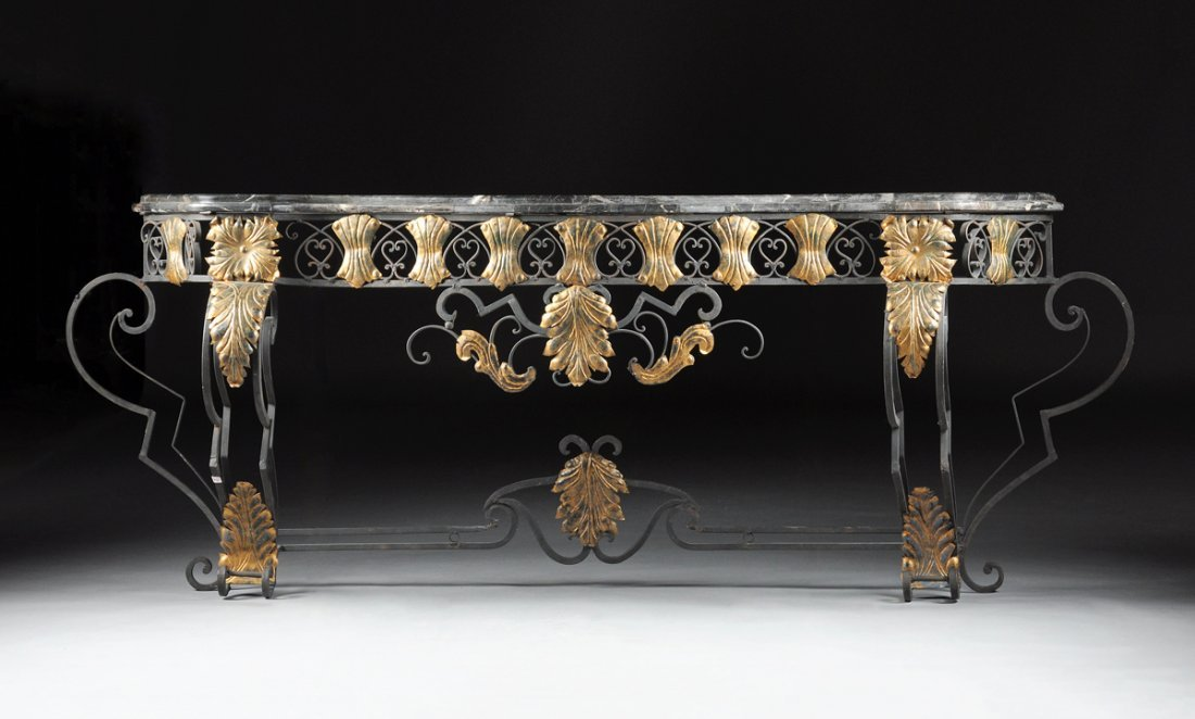 A LOUIS XV STYLE MARBLE TOPPED WROUGHT IRON CONSOLE