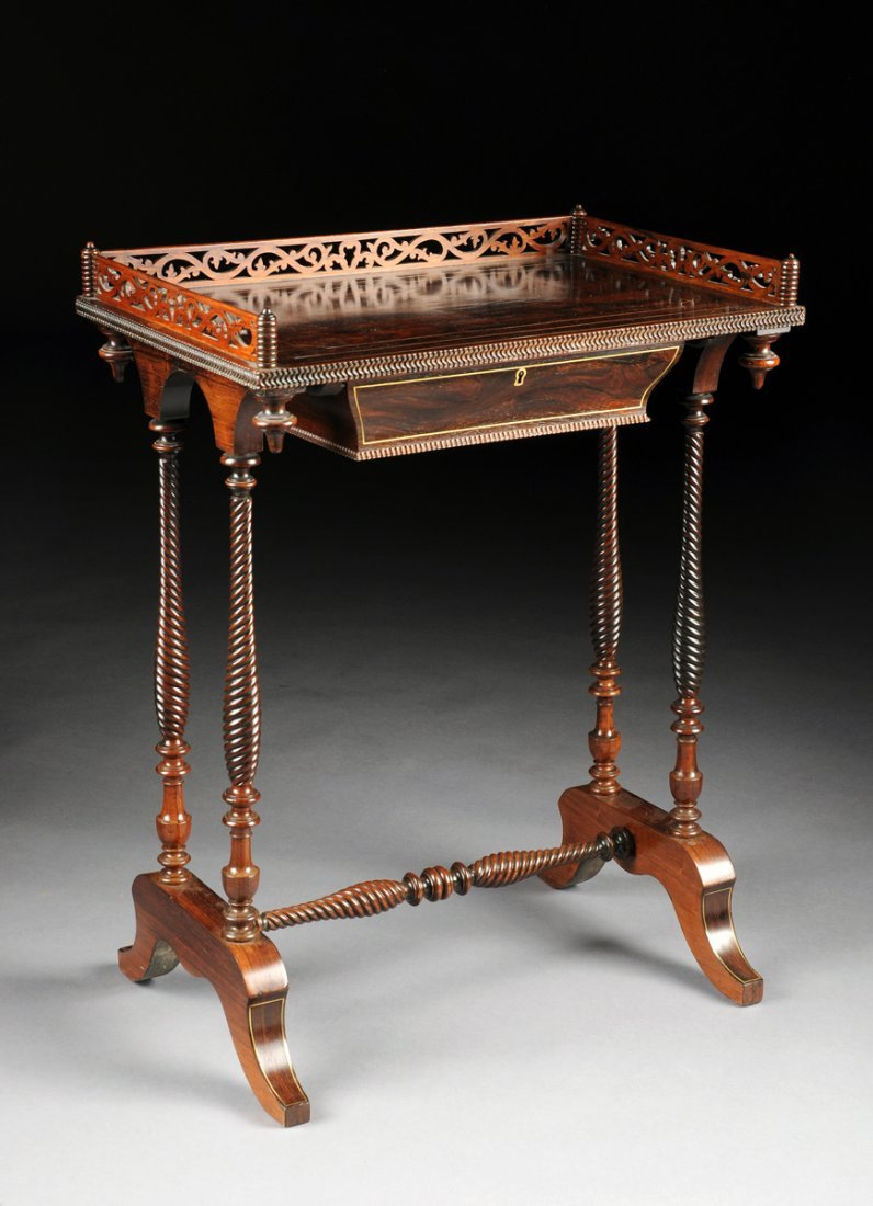 A NAPOLEON III BRASS INLAID  ROSEWOOD TABLE À ÉCRIRE,