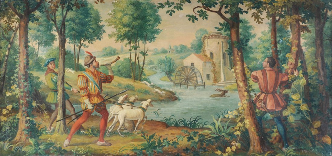 "EUROPEAN SCHOOL (19th Century) A PAINTING, ""Hunting"