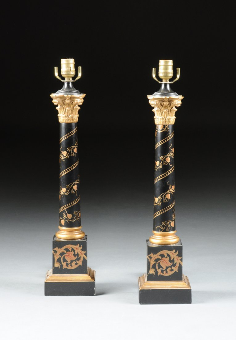 A PAIR OF REGENCY STYLE GILT PAINTED BLACK GROUND