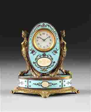 A MINIATURE AUSTRIAN BLUE GUILLOCHÉ ENAMEL CLOCK, EARLY
