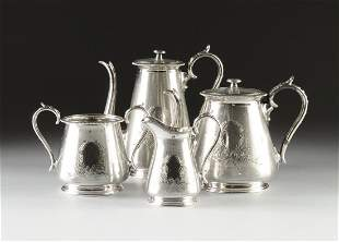 A FOUR PIECE VICTORIAN SILVER PLATED COFFEE AND TEA