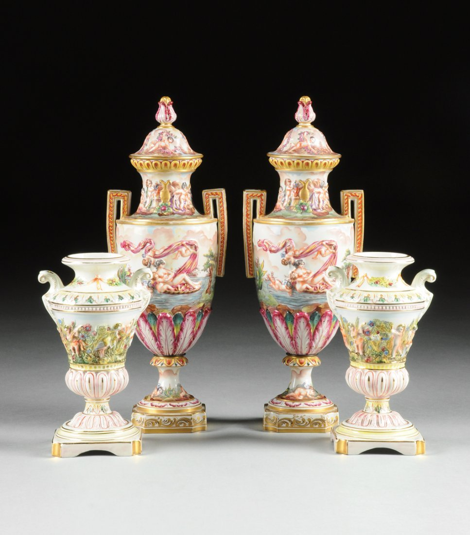 TWO PAIRS OF CAPO DI MONTE STYLE POLYCHROME DECORATED