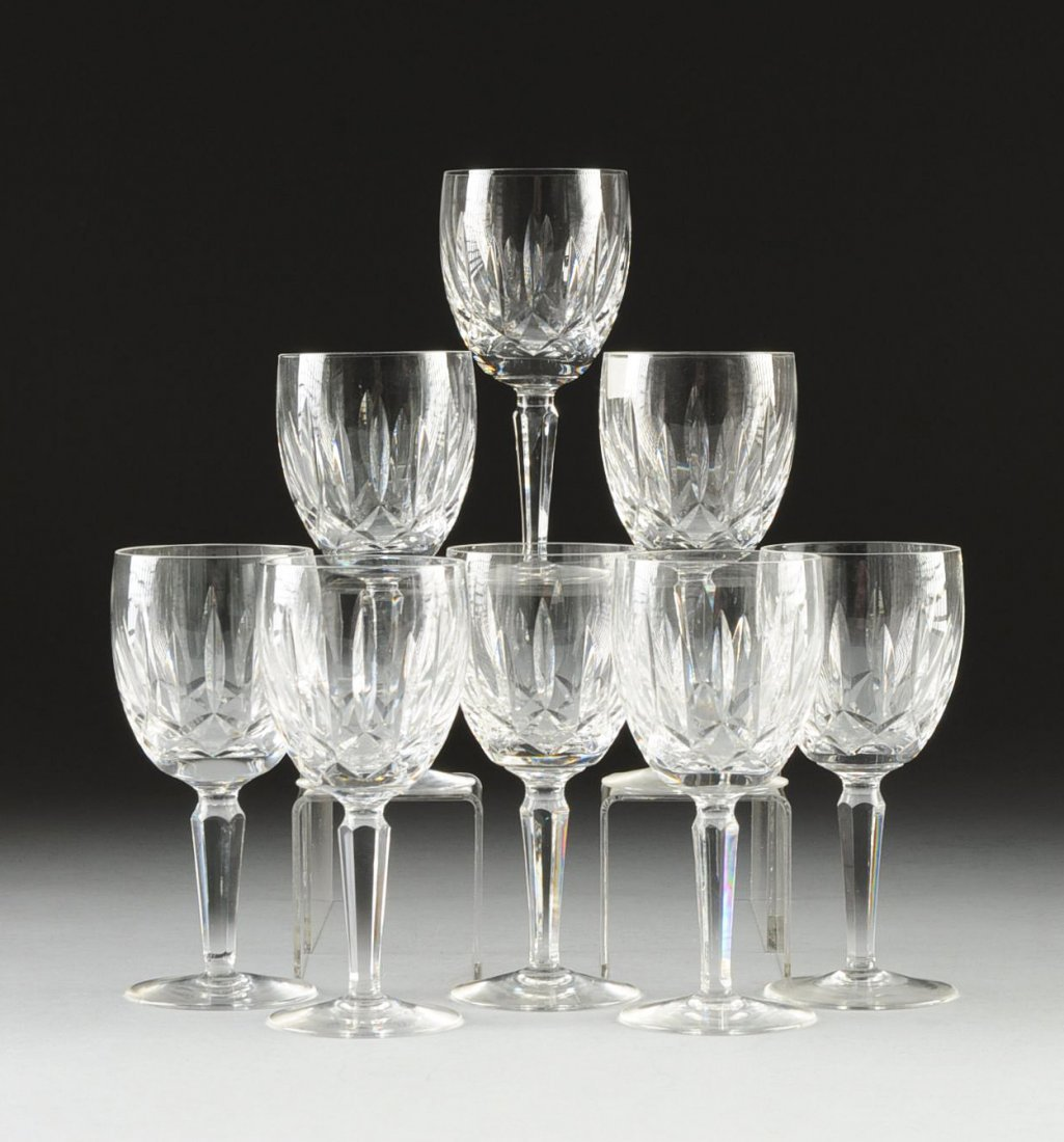 A SET OF EIGHT WATERFORD CUT CRYSTAL WATER