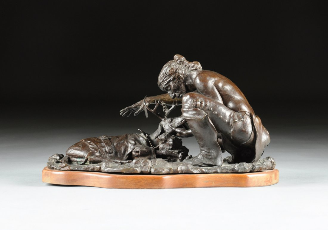 LINCOLN FOX (American b. 1942) A PATINATED BRONZE,