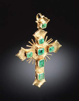 """AN 18K YELLOW GOLD AND EMERALD LADY""""S CROSS,"""