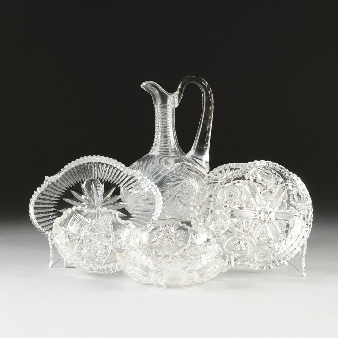 A GROUP OF SEVEN CUT CRYSTAL CRYSTAL BONBON DISHES AND