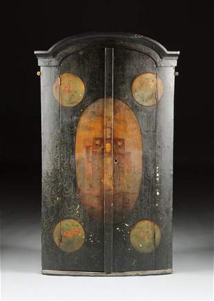 A DUTCH BAROQUE STYLE PAINTED HANGING CORNER CABINET,