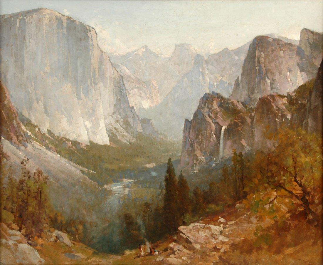 "THOMAS HILL (American 1829-1908) A PAINTING, ""Yosemite"