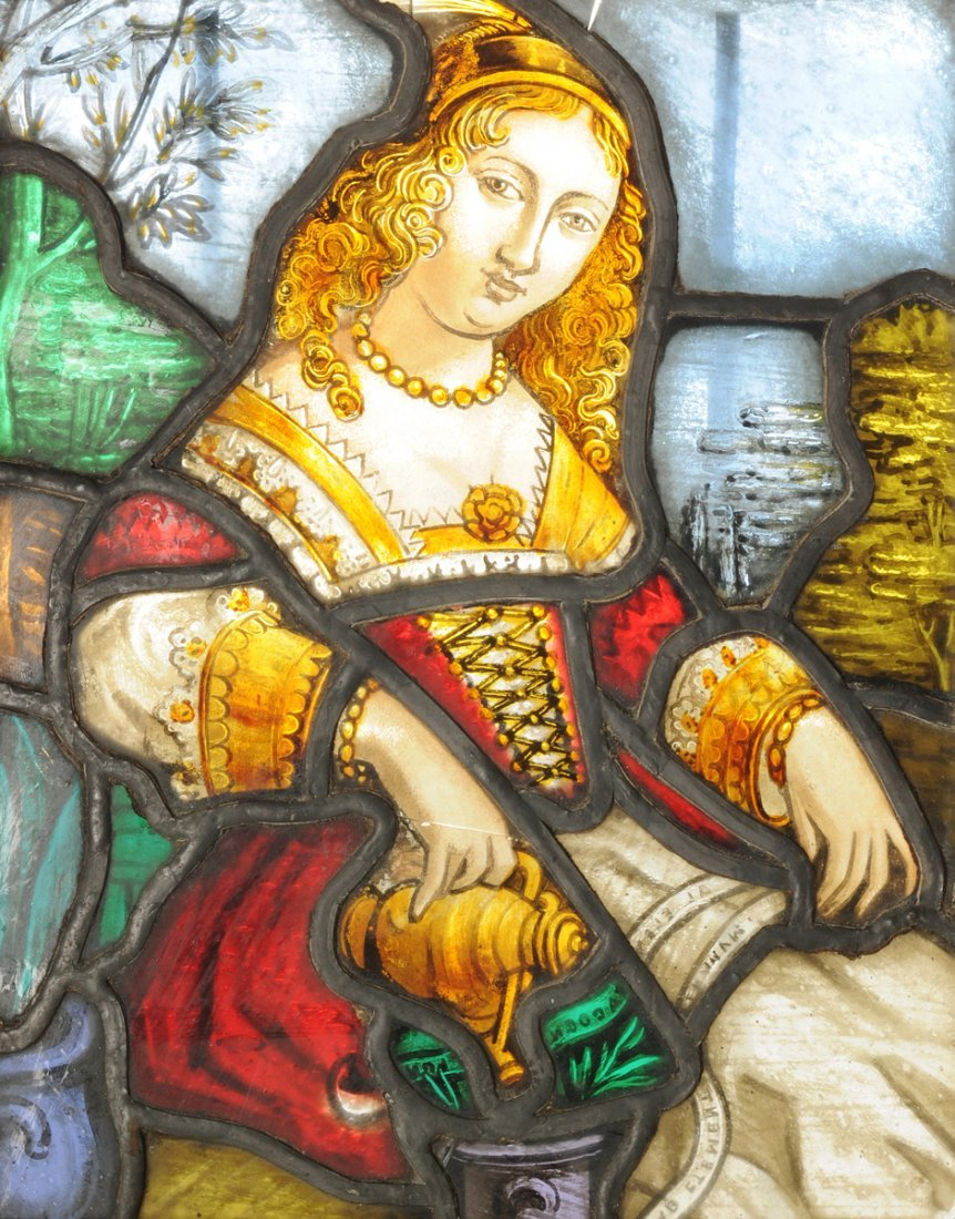 A CONTINENTAL POLYCHROME PAINTED AND STAINED GLASS
