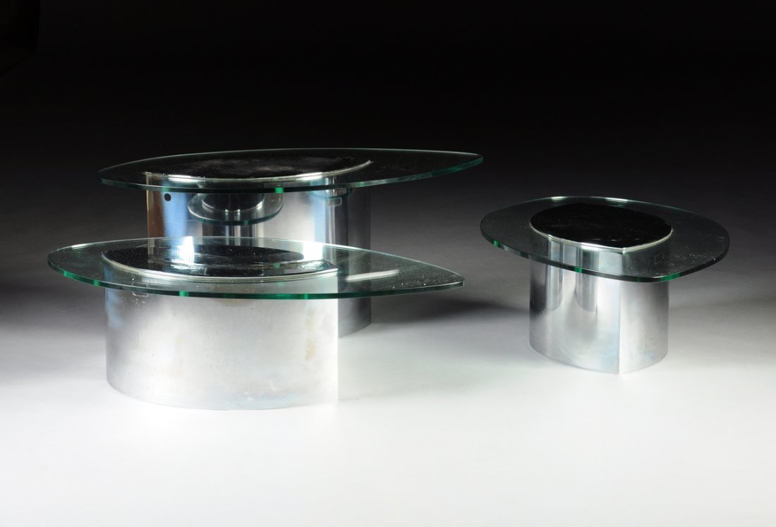 A SET OF THREE VINTAGE ITALIAN LUNARIO GLASS AND CHROME