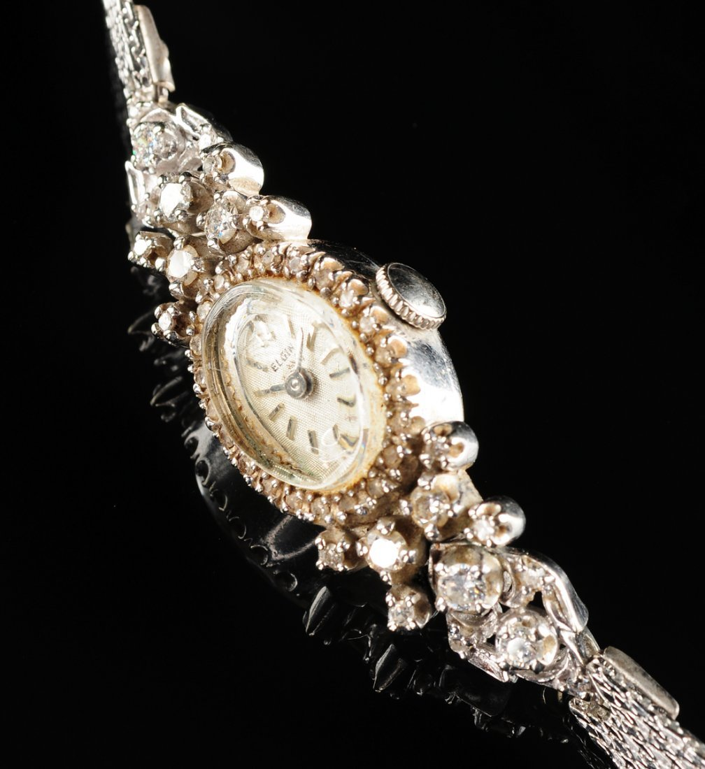 A VINTAGE 14K WHITE GOLD AND DIAMOND LADY'S ELGIN