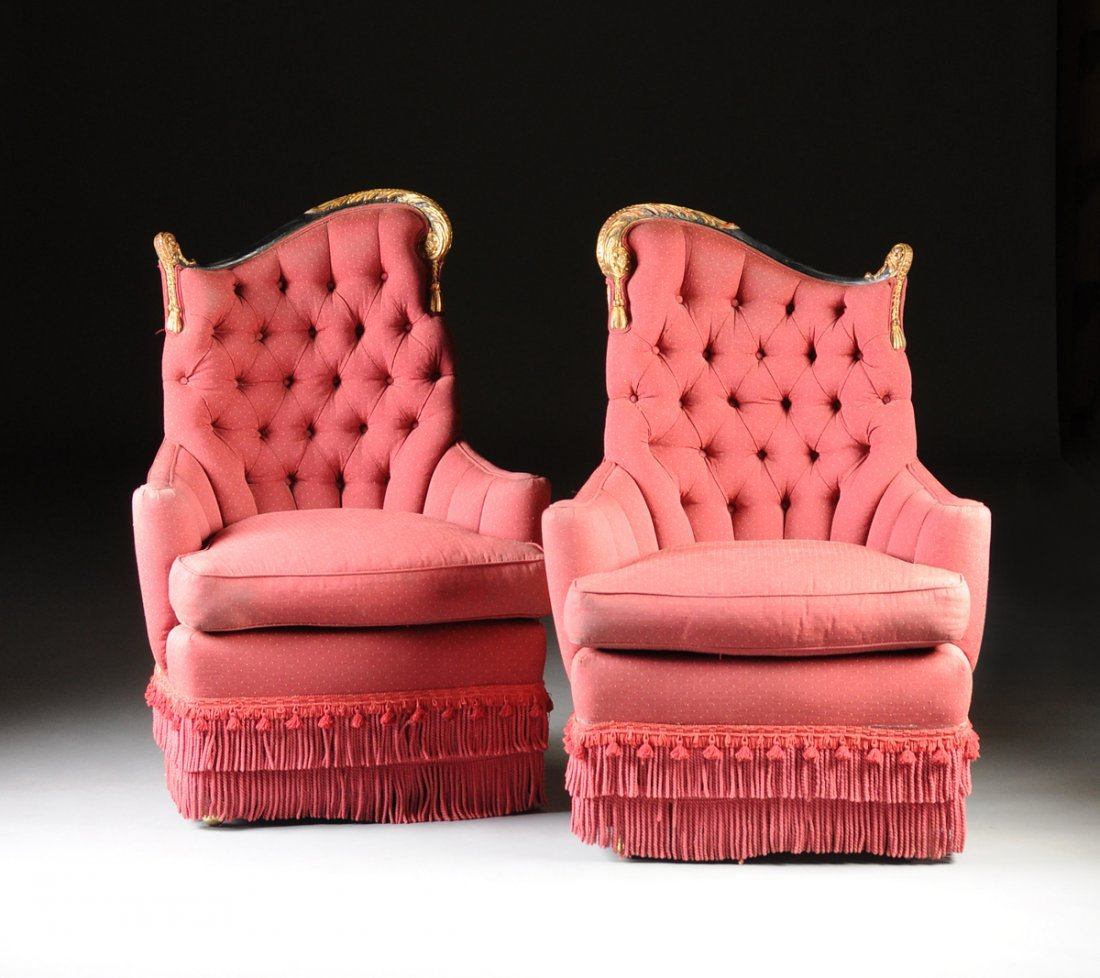 A PAIR OF VICTORIAN STYLE RED CORDED FABRIC UPHOLSTERED