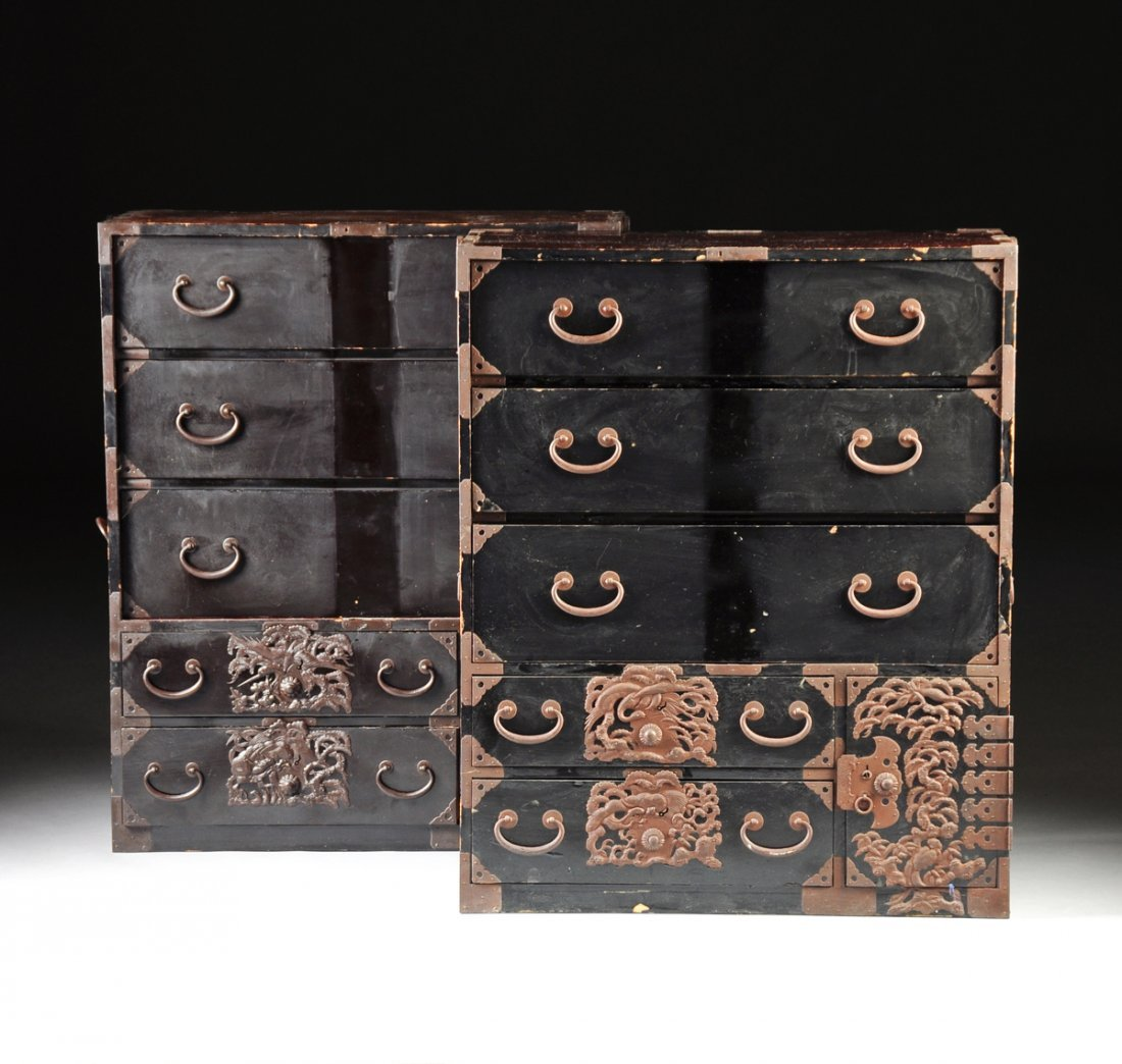 TWO JAPANESE IRON MOUNTED BLACK LACQUERED PERSIMMON