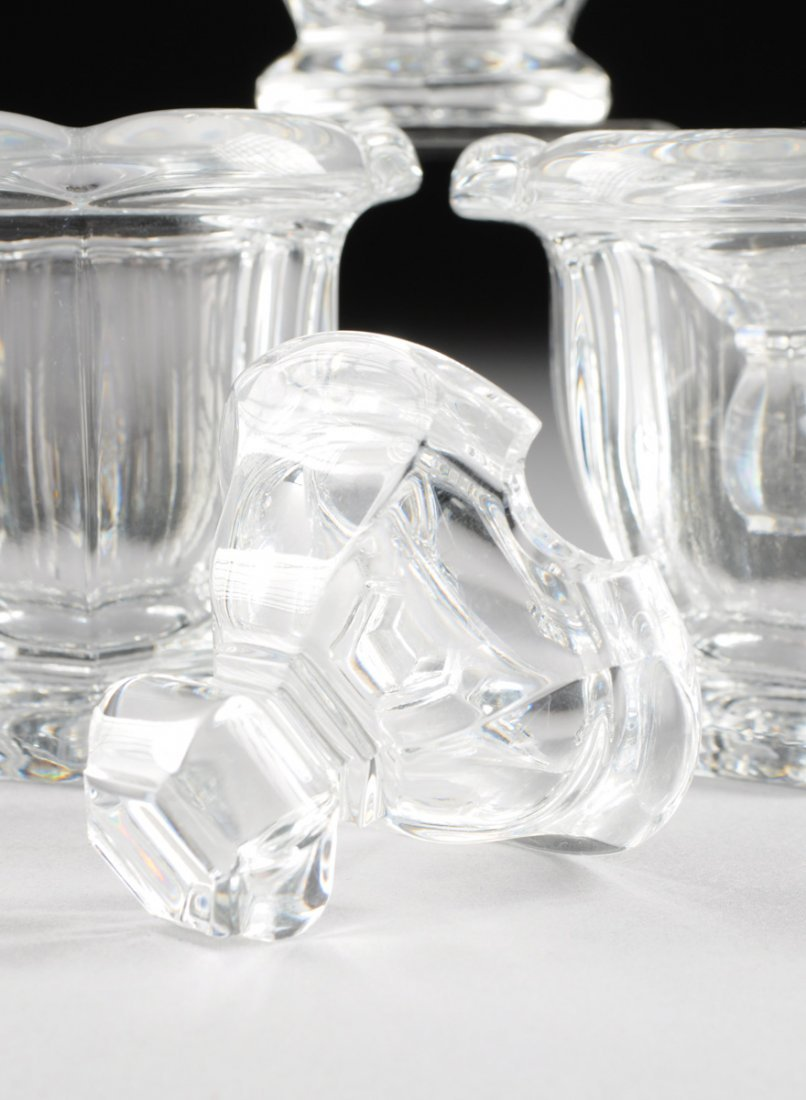 "A SET OF FOUR BACCARAT CLEAR CRYSTAL ""BRETAGNE"" PATTERN - 8"