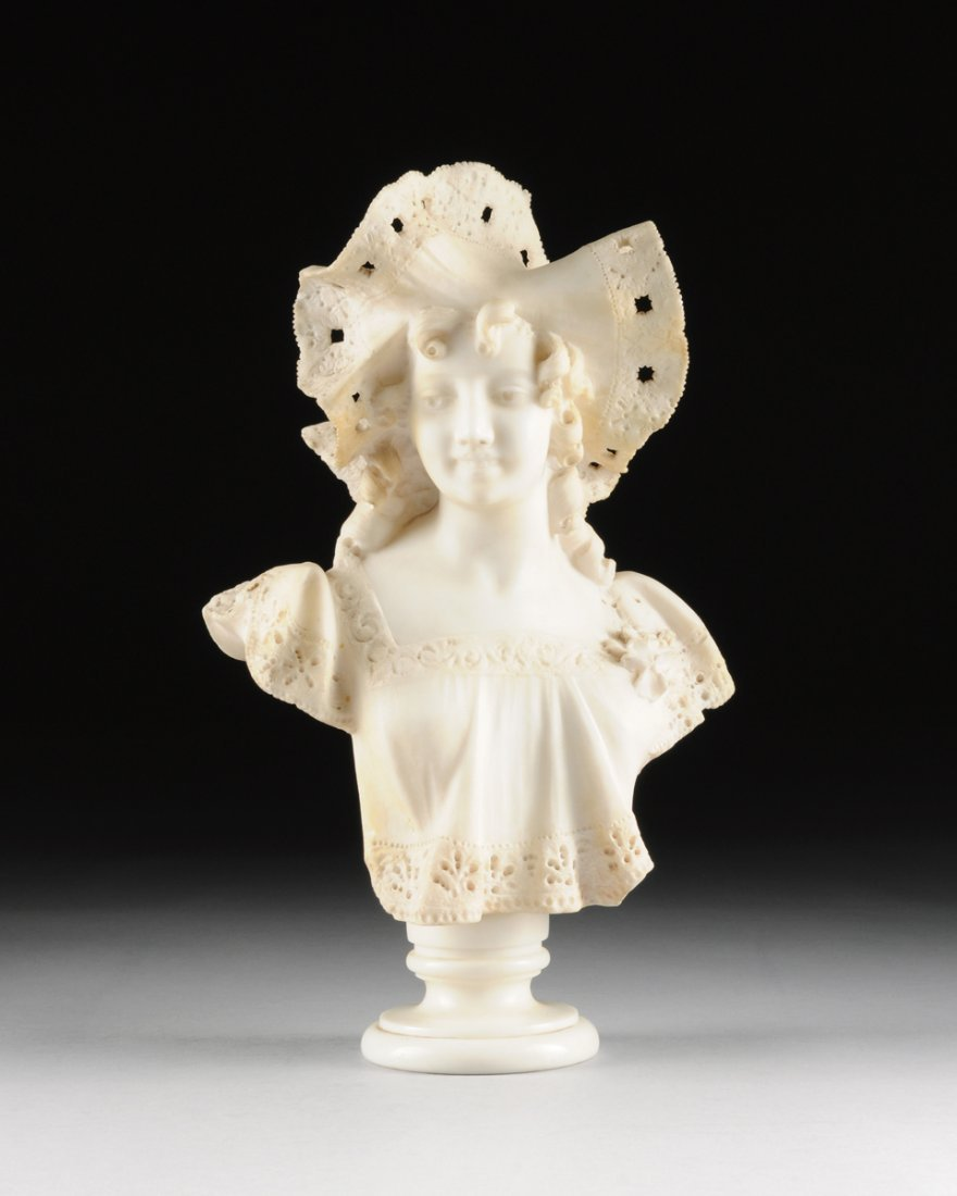 AN ITALIAN CARVED WHITE MARBLE BUST OF A MAIDEN BEAUTY,