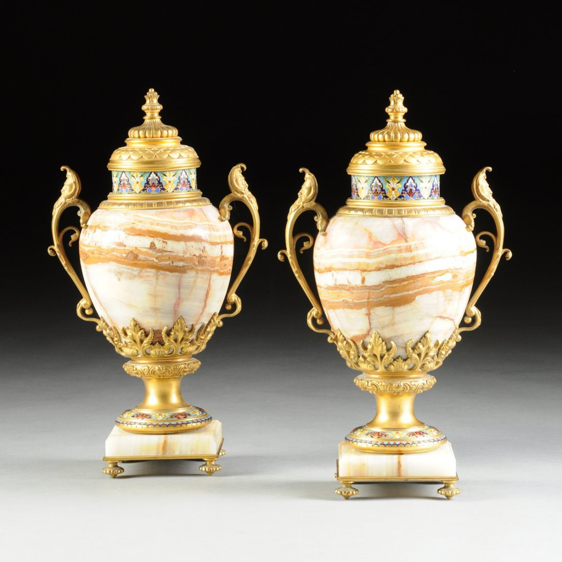 A PAIR OF FINE FRENCH CHAMPLEVÉ ENAMELED ORMOLU MOUNTED