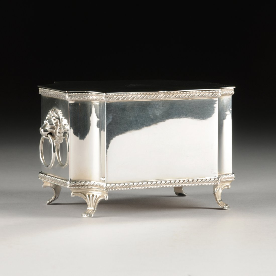 A GEORGE III STYLE SILVER PLATED COPPER KEEPSAKE BOX,