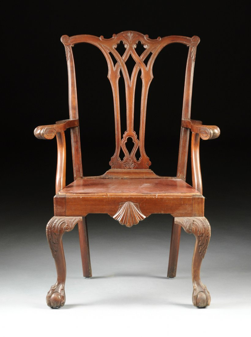 A GEORGE III STYLE MAHOGANY DINING ARMCHAIR, LATE