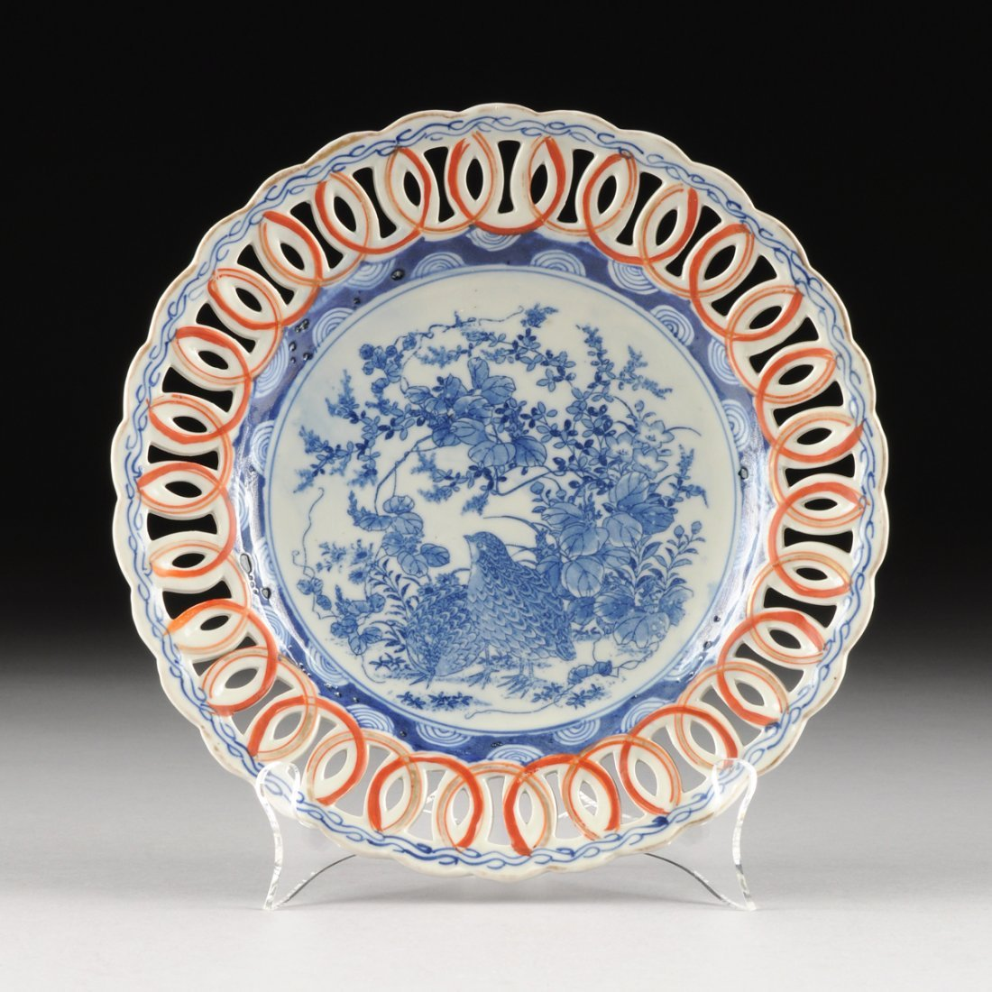 A JAPANESE IMARI HAND PAINTED PORCELAIN RETICULATED