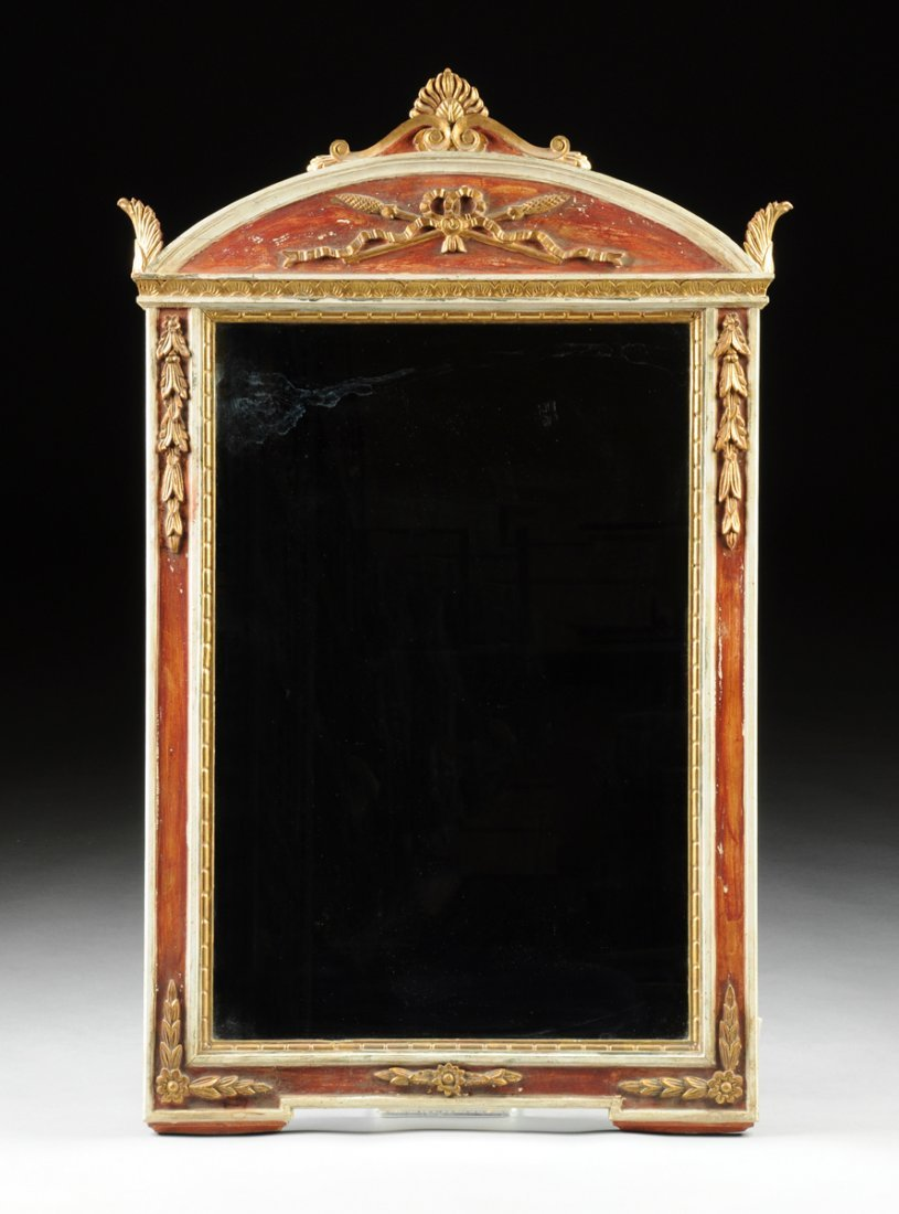 A NEOCLASSICAL STYLE PARCEL GILT RED AND WHITE PAINTED