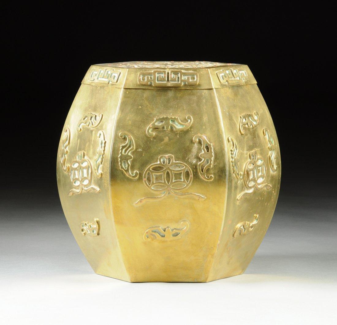 A CHINESE HEXAGONAL PIERCED BRASS GARDEN STOOL, MODERN,