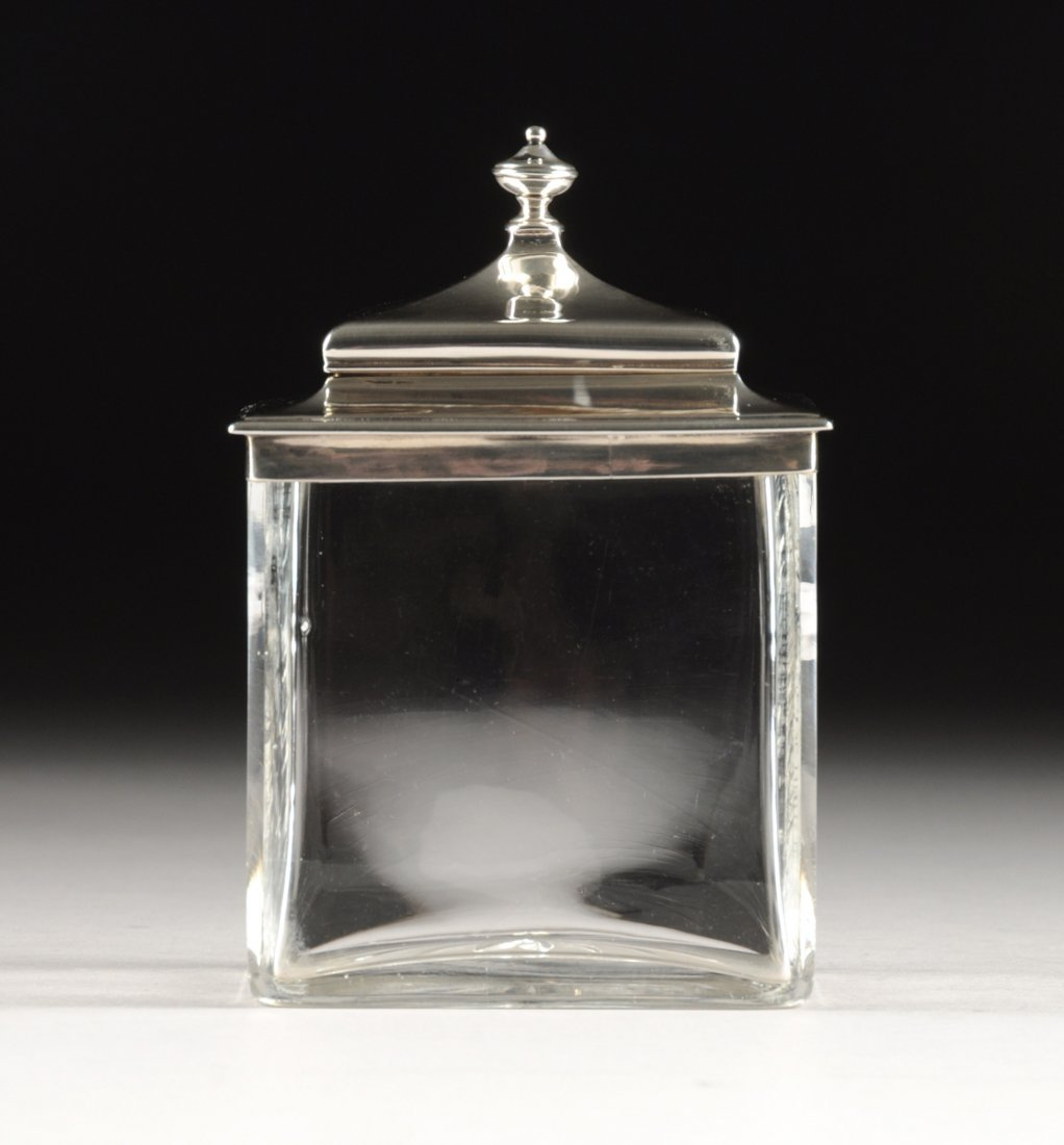A VICTORIAN STERLING SILVER MOUNTED CUT GLASS TEA