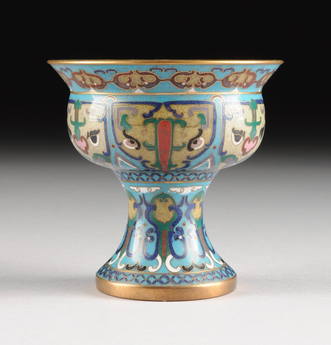 A CHINESE CLOISONN ENAMEL HIGH STEM CUP, POSSIBLY LATE