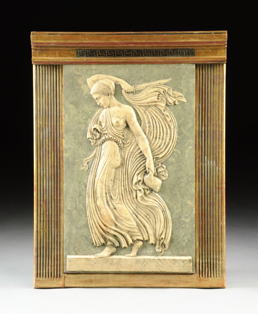 A NEOCLASSICAL STYLE POLYCHROME PLASTER BAS RELIEF